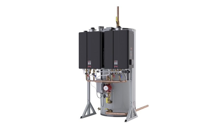 Hybrid commercial water heating system from Rinnai
