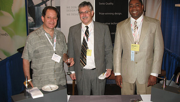 Warren Frankel (Central Plumbing Specialties), David Delle Monache (KWC America) and Darryl Jones (KWC America)