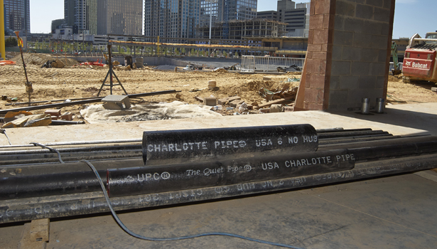 The system includes Charlotte Pipeâ??s cast iron pipe and fittings.