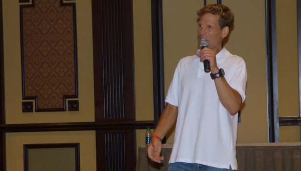 Ultra-marathoner Dean Karnazes takes questions from the crowd