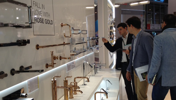 Kohler shows #faucets in Rose Gold finish at its ISH booth.