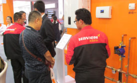 A Navien employee discusses the companyâ??s commercial condensing boiler