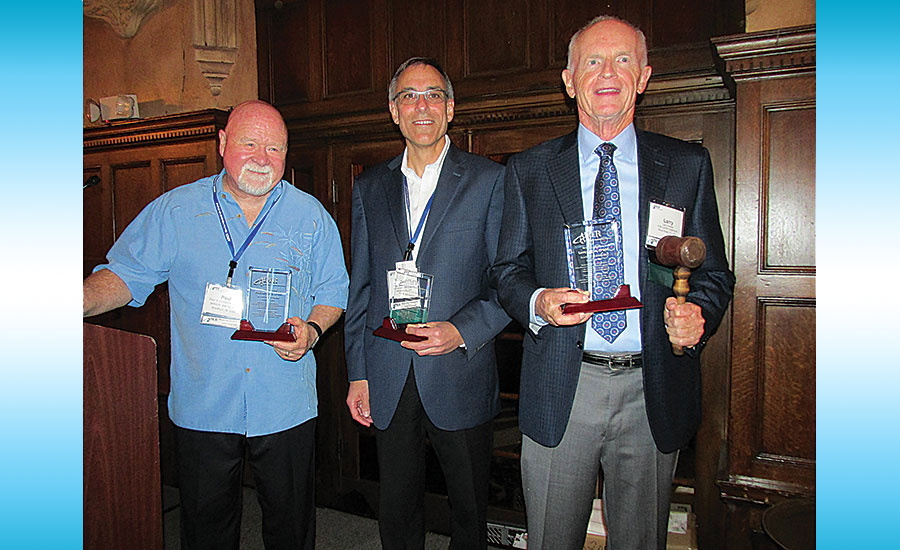 From left: 2016 AIM/R Hall of Fame inductees include, from left, Paul Lunsford (Manufacturers Marketing), Jay S. Schechter (Focus Sales) and Larry Hobbs (Carr Co.)