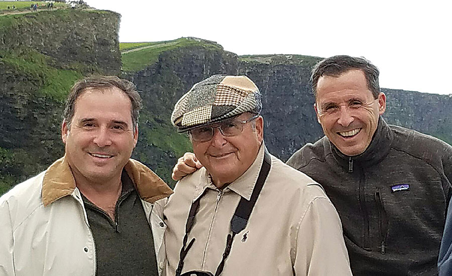 Simas with his sons, Jimmy (left), and GL, at Cliffs of Mohr in Ireland