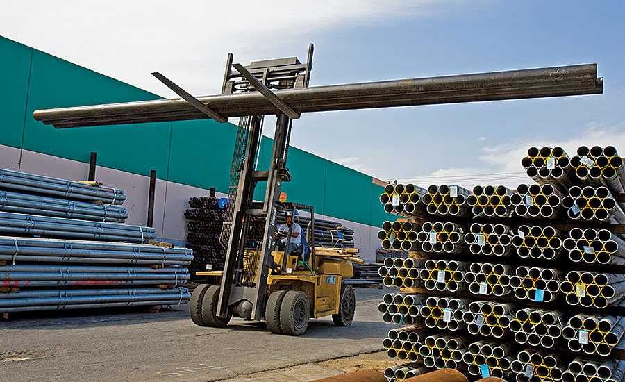 Santa Fe Springs, Calif., pipe yard at Kelly Pipe; pipe, valves, fittings; Industrial PVF master distributor