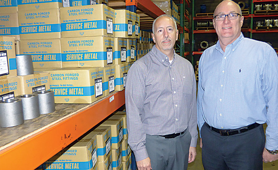 Executive General Manager Jim Fears (left) and National Sales Manager Ken Gebhardt; pipe, valves, fittings