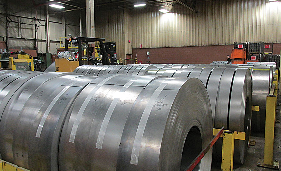 Rolls of steel at InSinkErator's Racine, Wis., plant; food waste disposer