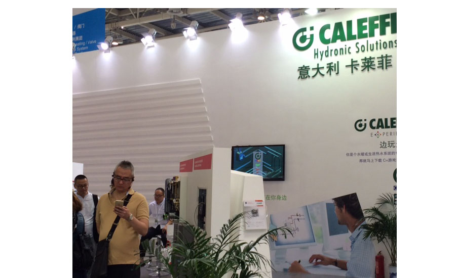 Caleffi welcomes visitors at ISH China/CIHE to its green-themed booth.