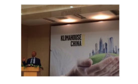 Italian architect Massimo Roj addresses the Klimahouse China Congress May 31