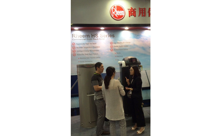 Rheem displays its water-heating products to visitors at ISH China/CIHE