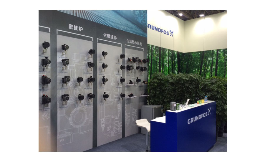 Grundfos strikes a green theme in its booth at ISH China/CIHE.