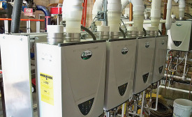 The Holiday Inn Wilkes-Barre East Mountain installed 19 A. O. Smith condensing tankless water heaters