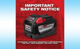 Milwaukee Tool battery pack safety warning