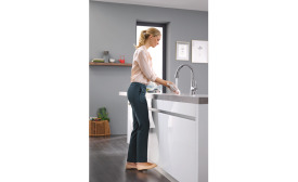 Grohe's LadyLux3 Café kitchen faucet features foot control technology.