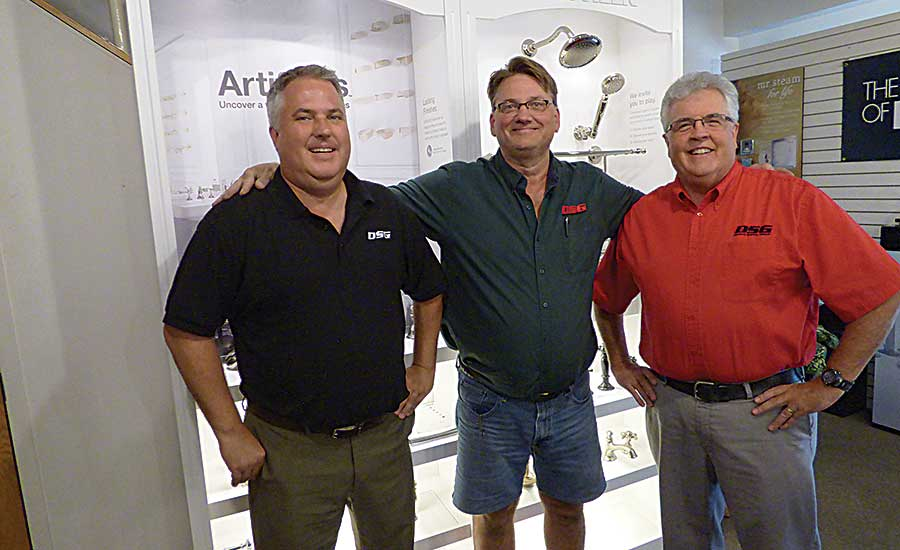 Rochester branch employees Tim Glander (account manager), Jeff Seidel (counter sales) and Jon Jacobson
