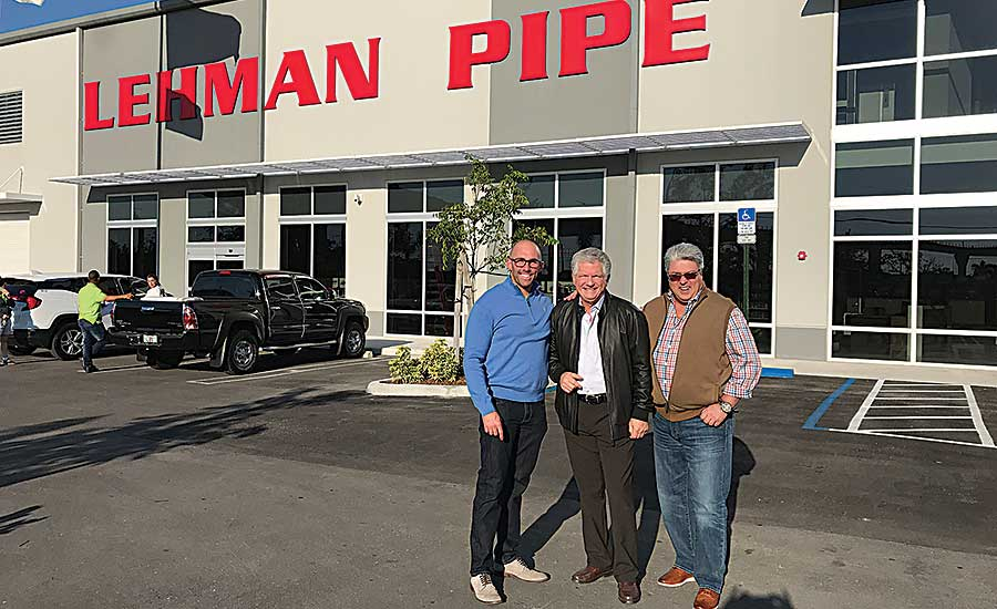 From left: Aberman, President Dennis Lehman and International Sales Manager Ron Stauffer outside the company