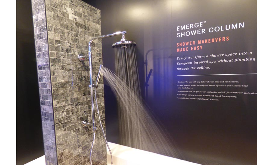 Delta Faucet's Emerge shower column, as the sign says, helps a homeowner transform a shower space