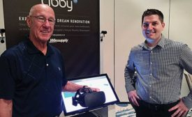 Winsupply National Manager of Showrooms Daryn Cherry (right) shows off Libby
