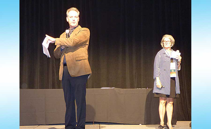 Rich-Tomkins' Stew Chaffee (left) conducts a workshop with E.J. Dwyer's Kathy Dwyer