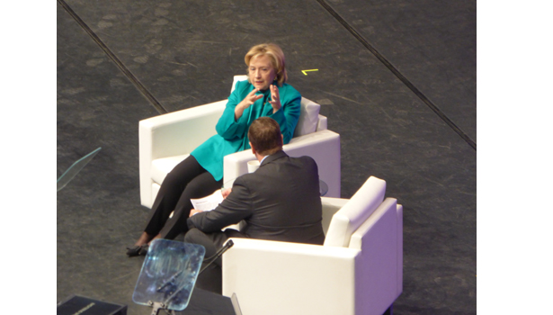 Hillary Clinton speaks during a Q&A session